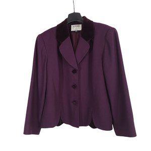 KASPER Rich Purple Wool & Velvet Blazer 16